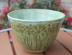 Wheel Thrown Stoneware Cereal Soup Serving Bowl Green Botanical Hand Made OOAK Stoneware Clay, Ceramic Bowls, Ceramic Pottery, Large Salad Bowl, Salad Bowls, Crackpot Café, Wheel Thrown Pottery, Ceramic Artists, Tea Light Holder