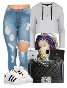 """""""Basic """" by daqveen ❤ liked on Polyvore featuring Bobbi Brown Cosmetics, Topshop, FOSSIL, Chanel and adidas"""