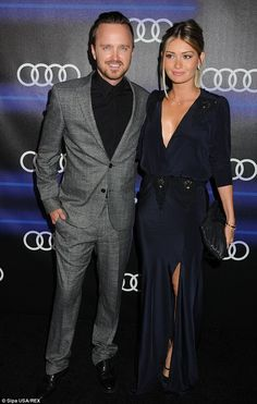 Celebrating: Aaron Paul and wife Lauren Parsekian attended the Audi 66th Annual Pre-Emmys party at Cecconi's restaurant on Thursday night