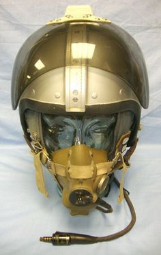British RAF 1950's- 1960's Bone Dome Jet Pilot's Helmet System, With Cloth Helmet Liner Wired For Comms And Oxygen Mask With Glass Display Head. Militaria   WARSTUFF