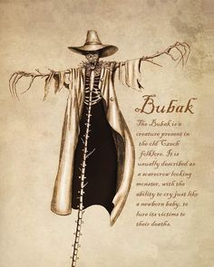 Bubak - Bubak Kristina Dark Creatures The Bubak is a creature present in the old Czech folklore. It is usually described as a scarecrow looking monster, with the ability to cry just like a newborn baby, to lure its victims to their deaths. Mythical Creatures Art, Mythological Creatures, Magical Creatures, Mythological Monsters, Japanese Mythical Creatures, Night Creatures, Myths & Monsters, Sea Monsters, Horror Monsters