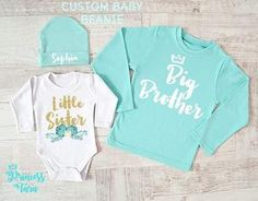 This adorable big brother shirt and little sister baby bodysuit with custom mint baby beanie will make a great gift to bring to a baby shower or hospital so the big brother won't feel left out! Big Brother Little Sister, Baby Sister, Little Sisters, Lil Sis, Mom Of Boys Shirt, Sister Shirts, Sibling Shirts, Trendy Baby Clothes, Take Home Outfit