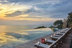 Glorious sunset, the main swimming pool at Six Senses Samui, Thailand http://www.sixsenses.com/resorts/samui/experiences