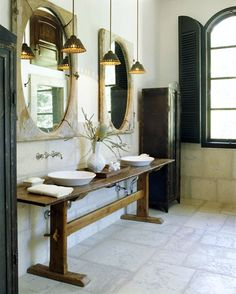 Wooden table for double sink in bathroom...love!