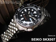 Five 316L Stainless Steel watch band are demo on Seiko SKX007 Diver's watch | strapcode
