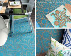 The Hunted Interior decorates a fun DIY outdoor rug with Royal Design Studio wall stencils. Stencil Rug, Stencils, Stenciled Floor, Painted Floors, Diy Patio, Outdoor Rugs, Outdoor Balcony, Indoor Outdoor, My New Room