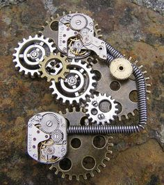 Steampunk brooch, pin, Great for Lapel, bag, hat etc. Great Steampunk addition, mechanical beauty. Titled; Power Timer. The brooch measures 6.5cm x 5cm approx. Jewellery Gift Emporium.