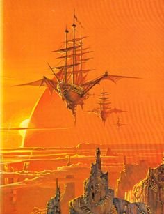 "sciencefictiongallery: "" Bruce Pennington - Sky Pirates of Callisto, "" So that's where Treasure Planet got its ""flying pirate ship"" idea from! Sci Fi Fantasy, Fantasy World, Steampunk Ship, Art Science Fiction, Trolls, Flying Ship, 70s Sci Fi Art, Treasure Planet, Creation Art"