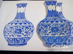 fabuloso!! sellos hechos a mano, hand carved stamp  The blue and white porcelain by Gorlei, via Flickr