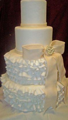 Sweet ruffled wedding cake