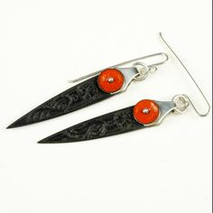 Carved Ebony and Red Enamel Silver pendant Earrings  by 2Roses
