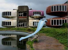 The Abandoned Sanzhi UFO Houses, Sanzhi district of New Taipei City in Taiwan, built in 1978, demolished in 2008.