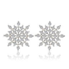 Ladies Crystal Snow Flake Bijoux Statement Stud Earrings For Women Earring Fashion Jewelry