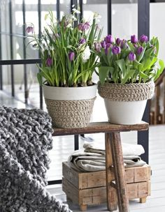 Bench-Painted clay pots w/twine..Just really like the look of this vignette..