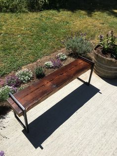 Bench   Shou Sugi Ban Bench Top With Metal Legs Blackened With Beeswax And Linseed  Oil Part 55