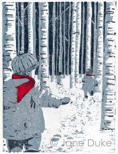 Original woodcut print children in snow limited by janedukeartist, £60.00