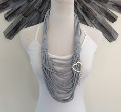 Scarf Necklace  Gray with Dangling Heart by MySassyScarfs on Etsy, $23.00