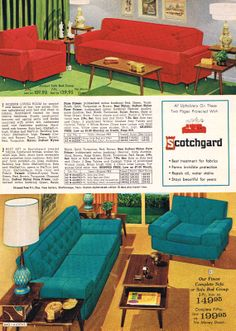mid mod sofas and chairs - Aldens 1965