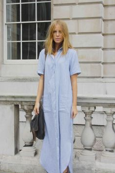 Shirt dress. Long bob.