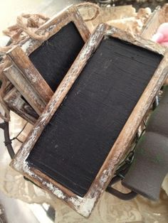 Pair of framed 6 foot Chalkboards with Monogrammed E & T on each side of refreshment tables.