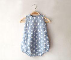 gi x CHIGO   Kurume cloth with splashed patterns rompers - CHIGO