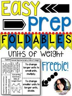 FREEBIE Units of Weight with Conversions Foldables - Perfect for Math Notebooks - FREE - Use this with your 4th, 5th, or 6th grade classroom or home school students. These easy prep foldables provide key concepts and information to use. These are great for interactive notebooks, creating lapbooks, whole group instruction, and even as reference sources. Use them for various activities, review, test prep, and more for your math measurement class. {fourth, fifth, sixth graders - 5.MD.A.1}