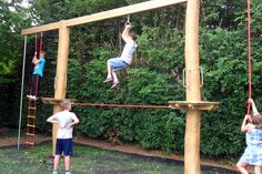 Timber play equipment in Weedon Park. Great play value for older children looking for challenging play.