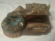 VINTAGE JAPANESE MUSICAL  BRONZE ( mixed metal) CIGARETTE BOX AND ASHTRAY