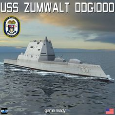 USS Zumwalt (DDG-1000) is a guided missile destroyer of the United States Navy. Description from turbosquid.com. I searched for this on bing.com/images