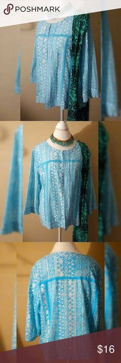 Boho Goddess Openwork Light Cotton Jacket XL The color is slightly more turquoise then the pictures show. -Fabric is 100% cotton in an open work weave -Southwestern inspired print -Three quarter length sleeves -Single hook & eye closure at neckline -Made in India Bust..Waist..Hips 50 inches Length 24 Shoulders 18.5 Sleeves 17  ***This is for only the jacket. The necklace and purse are not part of this sale*** Choices  Jackets & Coats