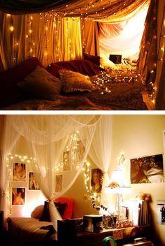 Christmas Lighting in your Bedroom - an easy/beautiful way to create a comfortable and romantic atmosphere