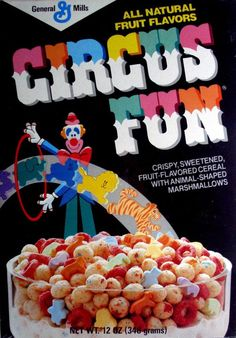 "Vintage ""Circus Fun"" Cereal Box Art"