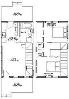 16x28 Tiny House -- #16X28H6C -- 806 sq ft - Excellent Floor Plans