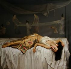 Zhao Kailin Zhao Kailin, a professional full-time artist. He was born in December, in Bengbu, which is a little city located i. Chinese Contemporary Art, Contemporary Artists, Woman Painting, Figure Painting, Painting Art, Xi Pan, Sleeping Women, Sleeping Beauty, Realistic Paintings