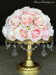 BLUSH PINK Floral Arrangement Wedding Centerpiece. These beautiful roses have a real feel and look to them. Why spend thousands on real roses that are thrown away after your wedding or event? Display these as your wedding centerpiece and keep them to use as home decor or for special events and Pearl Wedding Centerpieces, Blush Centerpiece, Pink Centerpieces, Blush Pink Weddings, Purple Wedding, Gold Cake Stand, Rose Arrangements, Flower Arrangement, Photos Booth