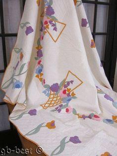 Darling Cottage 1930s Blooming French Basket Applique Antique Quilt 90 x 75 Pink   eBay