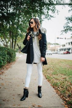 Cute way to wear my white jeans in the winter