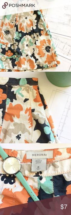 🌷🌷MERONA a-line Floral skirt Pretty vintage floral design! Some little marks on it.😉 Merona Aline Knee Length Cotton Floral Orange Mint Green Gray White Merona Skirts