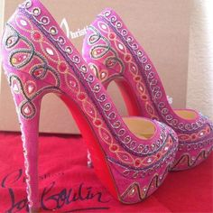 Christian Louboutin Ornate India-styled Pink Pumps' on Wish