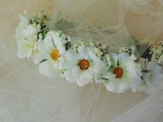 Rustic Wedding White Daisy Flower Crown by BunniesMadeOfBread