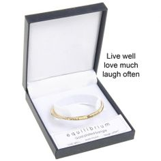 Equilibrium Gold Plated Bangle - Live, love & laugh