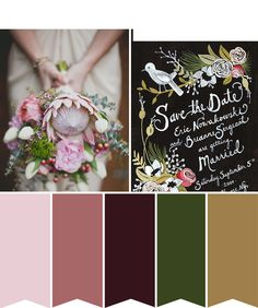 Dark-Romance - A Botanical Inspired Color Board We combined a mix of lush greens, deep wines and a hints of soft pinks, with materials such as brass, worn bricks and earthy wood to create a deeply dark and romantic colour board. A mix that is perfect for this time of year, which is both feminine in it's soft tones and romantic in its's richness and can easily be adapted with different materials and elements...