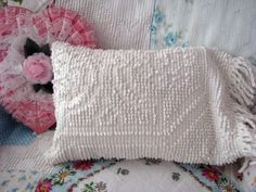 darling MINI small vintage CHENILLE PILLOW with fringe  dog cottage shabby chic upcycled new