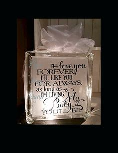 I'll love you forever glass block, Baby glass block, Lighted glass block