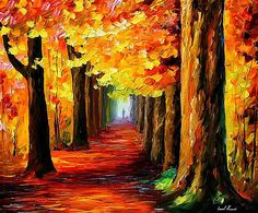 Mistery Alley - PALETTE KNIFE Oil Painting On Canvas By Leonid Afremov by Leonid Afremov