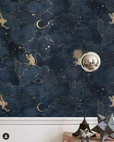 Papier peint Stars and Monkeys - Midnight Blue - Magic Garden - Gold Home Decor, Cheap Home Decor, Diy Home Decor, Gold Bedroom, Bedroom Decor, Star Bedroom, Budget Bedroom, Home Interior Design, Interior And Exterior