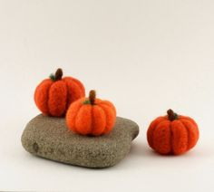 Thanksgiving Needle Felted Pumpkins Harvest by builtonbranches, $35.00