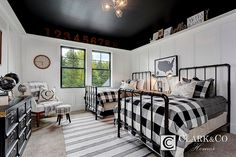 Layered carpets, black white and plaid kids farmhouse room