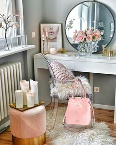 all pastel pink decor, baby pink decor, pink roses, pink cushions, pink accents Vanity Room, Vanity Decor, Glam Room, Beauty Room, Room Decor Bedroom, Master Bedroom, My Room, Room Inspiration, Office Decor