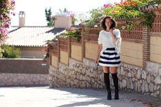 PÄIVÄN Asu, miauslife, miau´s life, todays, outfit, style, style inspiration, outfit inspiration, knee socks, stripes, skirt,
